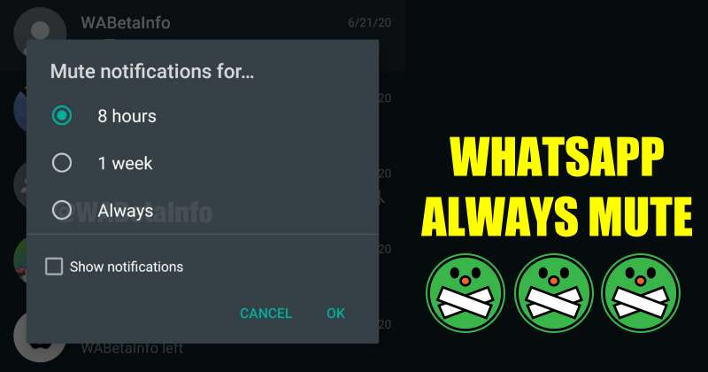WhatsApp Working on new Feature 'Mute Always' To Mute Groups Forever