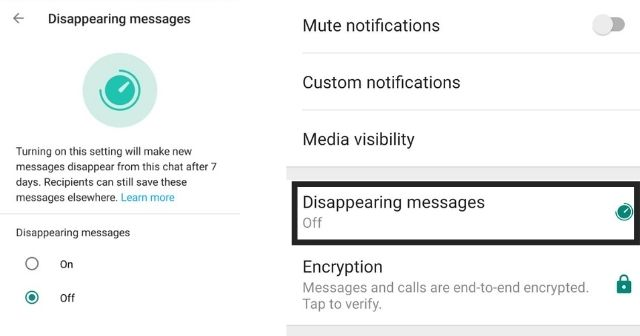 Whatsapp Disappearing messages feature live