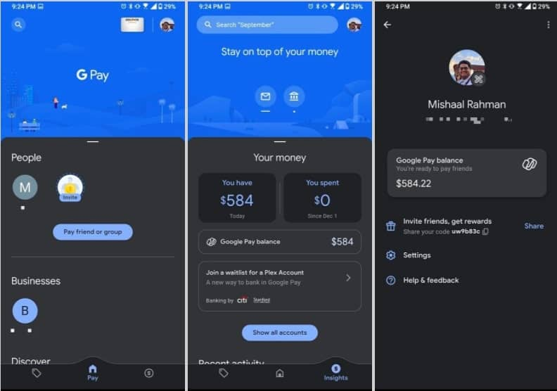 Google Pay gets dark theme on Android