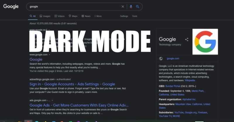 Dark mode on Google Search